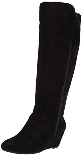 Anne Klein Women's Alanna Wedge Boot Knee High, Black/Black, 7 Medium/Wide Shaft US