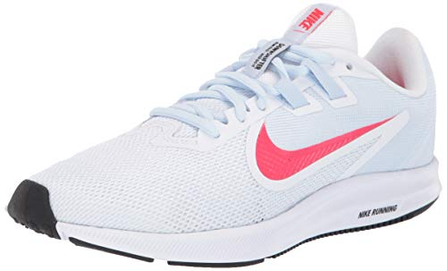 Nike Women's Downshifter 9 Sneaker, White/Red Orbit - Half Blue - Black, 7 Regular US
