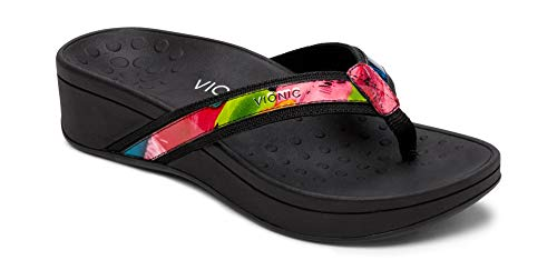 Vionic Women's Pacific High Tide Toepost Sandals – Ladies Platform Flip Flops with Orthotic Arch Support Black Floral 5 Medium US