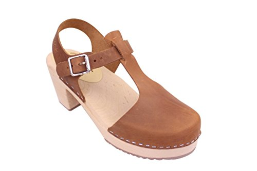 Lotta From Stockholm Women's Highwood T-Bar Oiled Nubuck Brown Ankle-High Clogs - 7.5M
