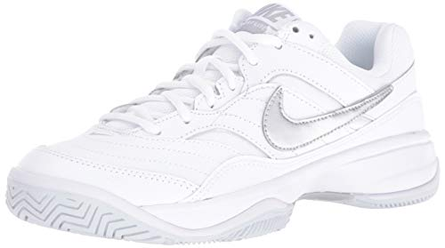 Nike Women's Court Lite Tennis Shoe, White/Metallic Silver/Medium Grey, 9 Regular US