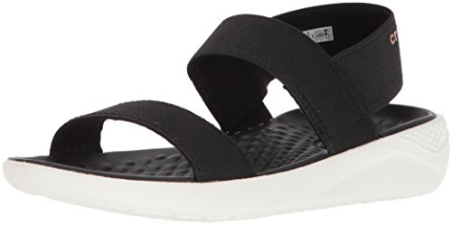Crocs Women's LiteRide Sandal Flat, black/white, 10 M US