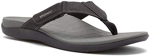 Vionic with Orthaheel Technology Men's Ryder Thong Sandals, Black/Grey, 8 M US