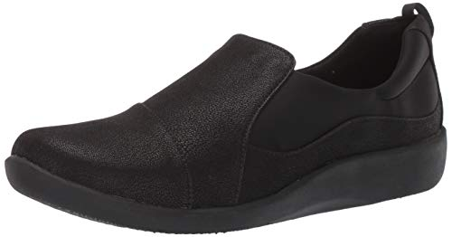 Clarks Women's CloudSteppers Sillian Paz Slip-On Loafer, Black Synthetic Nubuck, 9.5 M US