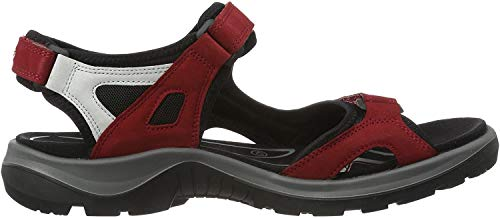 ECCO Women's Yucatan outdoor offroad hiking sandal limited, Chili Red/Concrete/Black, 4-4.5 M US