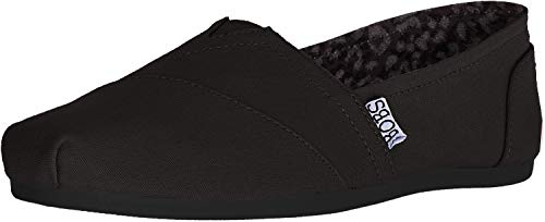 BOBS from Skechers Women's Plush Peace and Love Flat,Black,9.5 W US