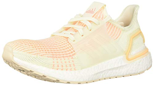 adidas Women's UltraBOOST 19 Running Shoe, Off White/Off White/Glow Orange, 9.5 M US