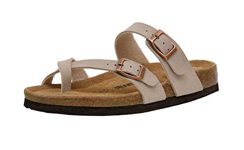 CUSHIONAIRE Women's Luna Cork Footbed Sandal with +Comfort, Stone,7.5