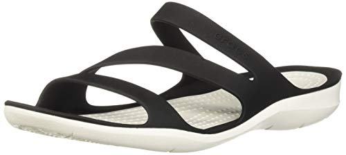 Crocs Women's Swiftwater Sandal Sport, Black/White, 9 M US