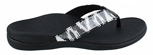 Vionic Women's Tide Sequins Toe Post Sandals - Ladies Flip Flop Sandals with Concealed Orthotic Arch Support White Black 5 Medium US