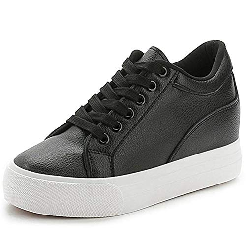 Buganda Women Fashion Leather Sneakers Casual Lace up White Black Flat Shoes High Top Hidden Heel Wedges Platform Shoes