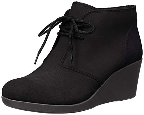 crocs Women's Leigh Suede Wedge Shootie Boot, Black, 8.5 M US