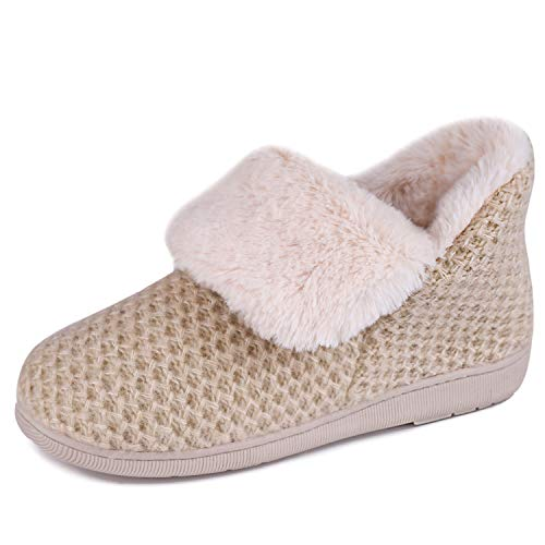 Women's Comfort Knit Bootie Slippers Soft Cozy Memory Foam Plush Faux Fur Lining Slip on Boots Shoes(Medium / 7-8, Beige)