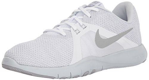 Nike Women's Flex Trainer 8 Cross, White/Metallic Silver-Pure Platinum, 7.5 Regular US