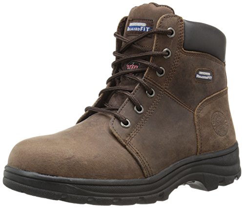 Skechers for Work Women's Workshire Peril Boot, Dark Brown, 7.5 M US