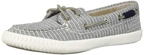 Sperry Women's Sayel Away Pin Stripe Sneaker, Grey/White, 8.5