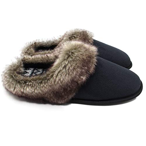 ofoot Men's & Women's Micro Suede Winter Slippers Cable Knit Lining, Furry Cuff Indoor Slippers with EVA Sponge Anti-Slip