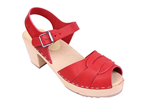 Lotta From Stockholm Swedish Clogs : High Heel Peep Toe Clogs in Red Leather 5 B(M) US / 35 M EU