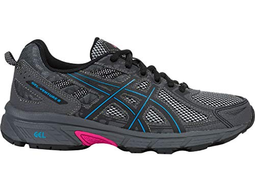 ASICS Women's Gel-Venture 6 Running Shoes, 5M, Black/Island Blue/Pink Glow