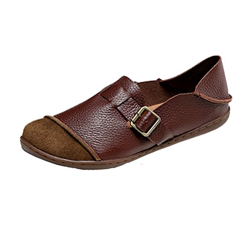 Mordenmiss Women's New Flat Round Toe Shoes Style4 Brown US 6