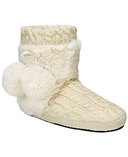 MUK LUKS Women's Coralee Boot Slippers (Ivory,L)