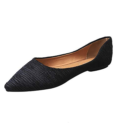 Meeshine Women's Pointy Toe Ballet Flats Comfortable Slip-on Classic Dress Shoes (Classic-Black US 7)