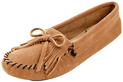 Minnetonka Women's Kilty Suede Softsole Moccasin,Taupe,10 M US