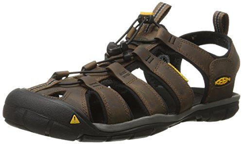 KEEN Men's Clearwater Cnx Leather Water Sandal, Dark Earth/Black, 10.5 M US