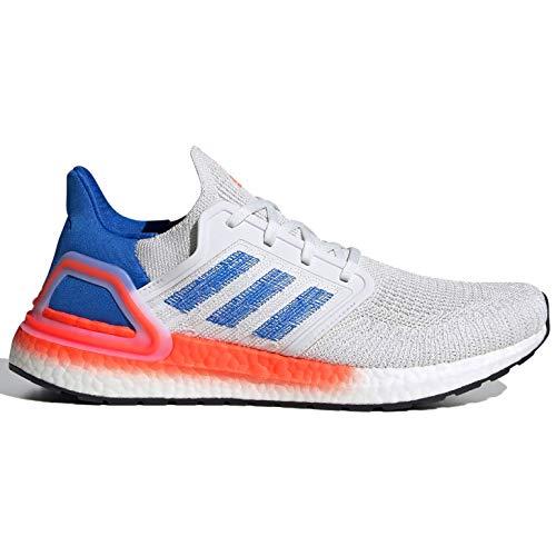 adidas Men's Ultraboost 20 Running Shoe, Crystal White/glory blue/Solar Red, 4 M US