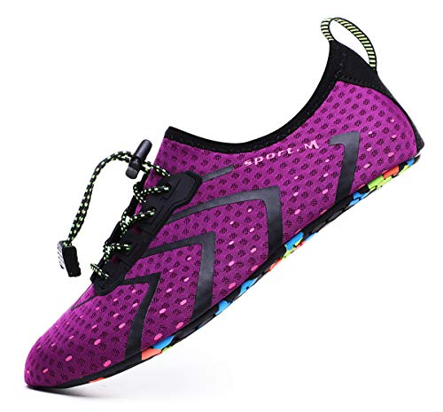 CanLeg Water Shoes Aqua Shoes Swim Shoes Beach Sports Quick Dry Barefoot for Boating Fishing Diving Surfing with Drainage Driving Yoga Upstream for Womens Mens(CL196Purple37)