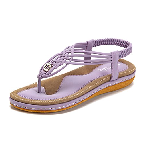gracosy Summer Sandals for Women, Flat Sandals Flip Flops Thongs Clip Toe Slip On Elastic T-Strap Bohemia Beach Slippers Purple 8.5 M US