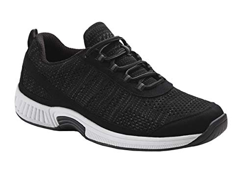 Orthofeet Proven Foot and Heel Pain Relief. Extended Widths. Best Orthopedic Shoes Plantar Fasciitis, Diabetic Men's Walking Shoes, Lava Black