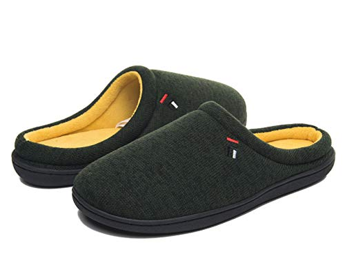 FOOTTECH Men's House Slippers Cozy Soft Memory Foam Home Shoes Anti Skid Indoor Outdoor Slip On Slipper 009M Green