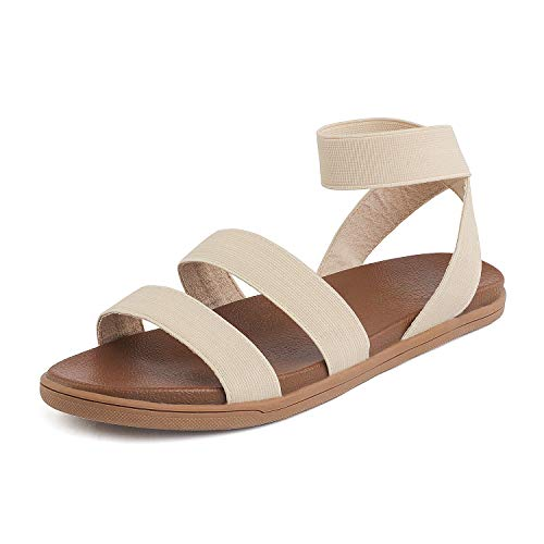 DREAM PAIRS Women's Elastic Flat Sandals Size 6 M US Nude Dumbo-Stretch