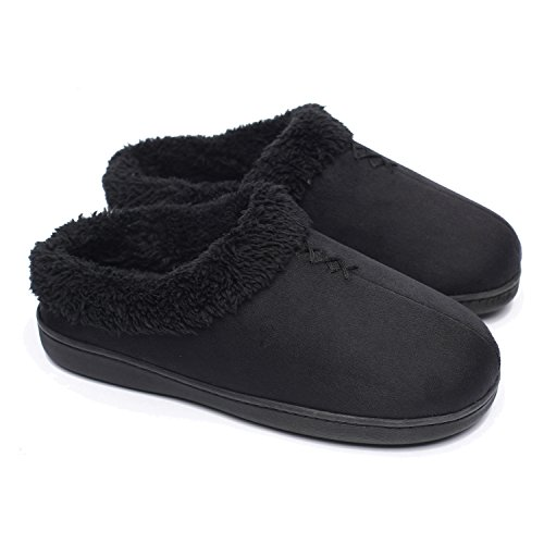 ofoot Women's Warm Clog Slippers,Memory Foam Indoor Outdoor Hard Bottom Rubber Soles Slippers with Back for Women Black