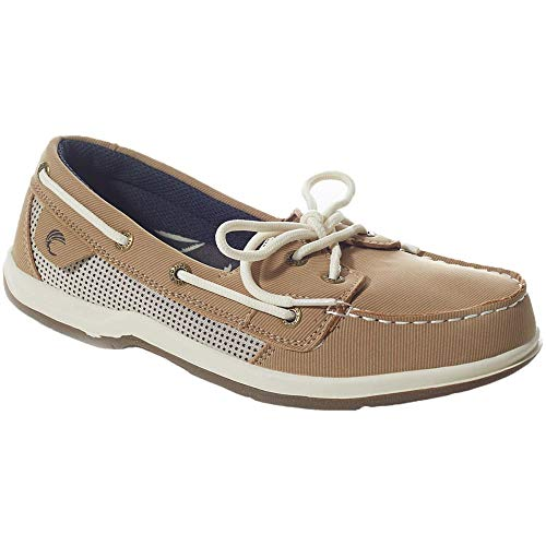 Island Surf Women's Co, Sanibel Boat Shoes Parchment 9 M