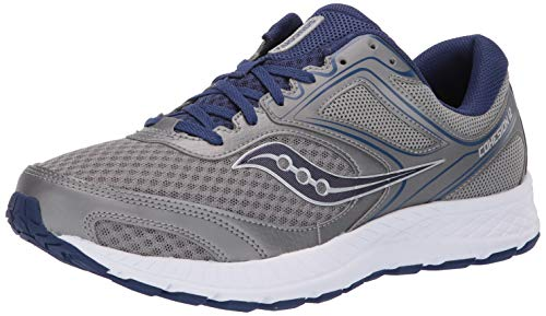 Saucony Men's VERSAFOAM Cohesion 12 Road Running Shoe, Grey/Blue, 9 W US