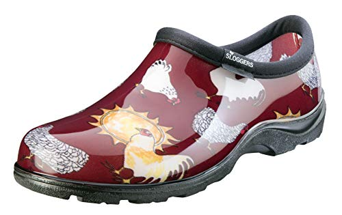 Sloggers Women's Waterproof  Rain and Garden Shoe with Comfort Insole, Chickens Barn Red, Size 9, Style 5116CBR09