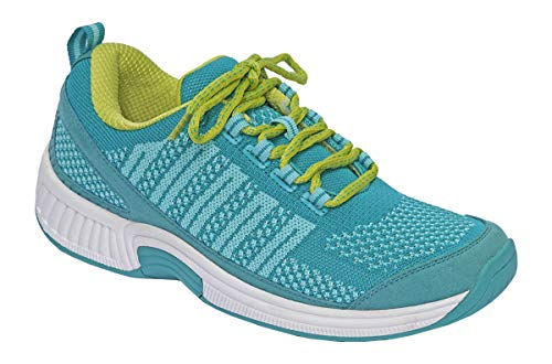 Orthofeet Best Plantar Fasciitis Shoes. Proven Foot and Heel Pain Relief. Extended Widths. Orthopedic, Diabetic, Bunions Women's Sneakers, Coral Turquoise