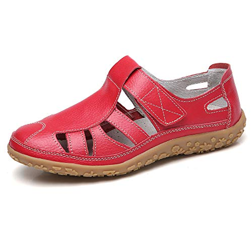 Fortuning's JDS Soft Leather Flat Sandals for Women, Summer Casual Shoes Comfortable Lightweight Non-Slip Sole Velcro Strap Hollow Closed Toe Sandals Red