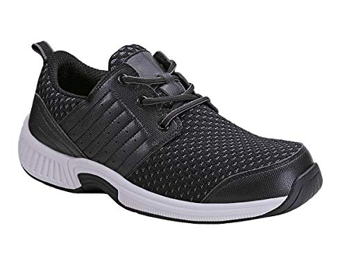 Orthofeet Proven Foot and Heel Pain Relief. Extended Widths. Best Orthopedic, Plantar Fasciitis, Diabetic Men's Walking Shoes, Edgewater Black