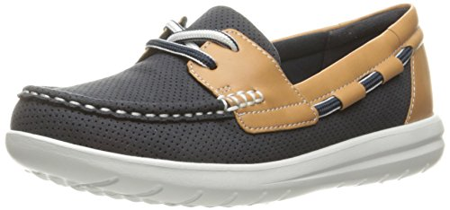 Clarks Women's Jocolin Vista Boat Shoe, Navy Perforated Textile, 8 B(M) US