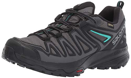 Salomon Women's X Crest GORE-TEX Hiking Shoes, Magnet/Black/Atlantis, 6.5 US