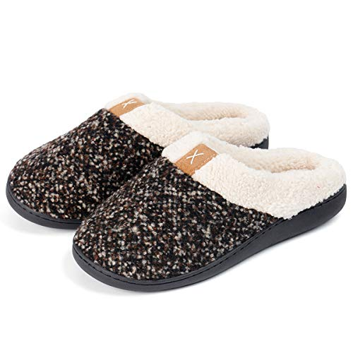 Zando Unisex House Slippers Memory Foam Slippers Soft Comfy Warm WomensHouse Shoes Slippers Comfort Knitted Anti-Skid Indoor Outdoor Slippers Brown Large(fits like US 9-10)