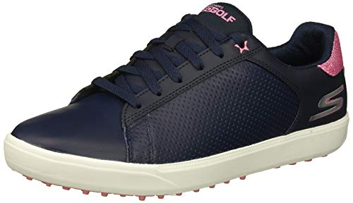 Skechers Women's Drive 4 Spikeless Waterproof Golf Shoe, Navy/Pink, 8 M US