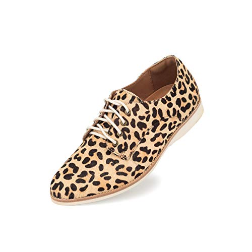 Rollie Women's Derby Snow Leopard Print, Spots Haircalf Oxfords White Flat Shoes for Women with Laces, Size 7 US / 38 EU