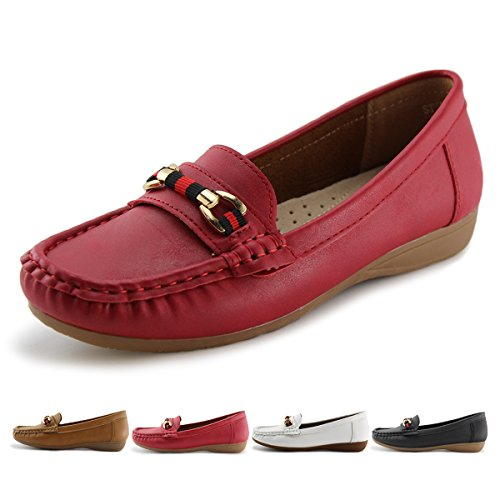 JABASIC Women's Slip-on Loafers Flat Casual Driving Shoes(5, Red-1)