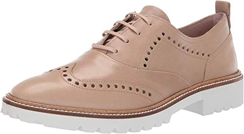 ECCO Women's Incise Tailored Wing Tip Oxford Flat, Dune, 35 M EU (4-4.5 US)