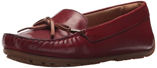Clarks Women's Dameo Swing Driving Style Loafer, red Leather, 10 Medium US