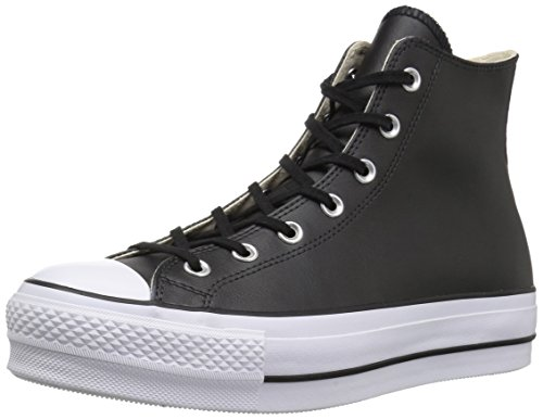 Converse Women's Chuck Taylor All Star Lift Clean HIGH TOP Sneaker, Black/Black/White, 8.5 M US